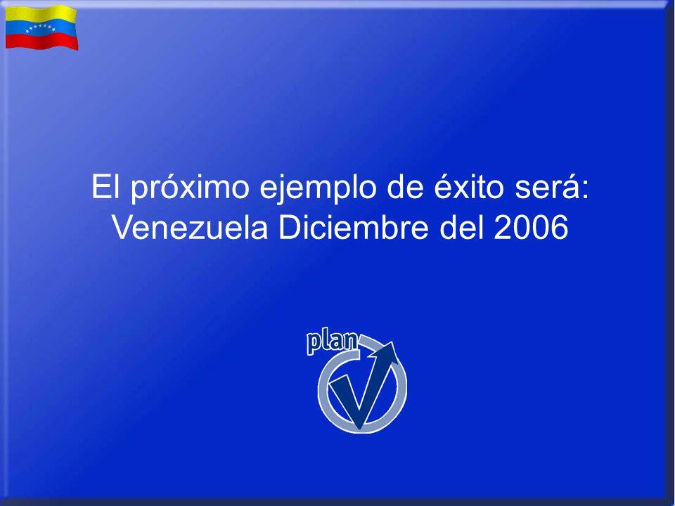 El próximo ejemplo de éxito será: Venezuela Diciembre del 2006