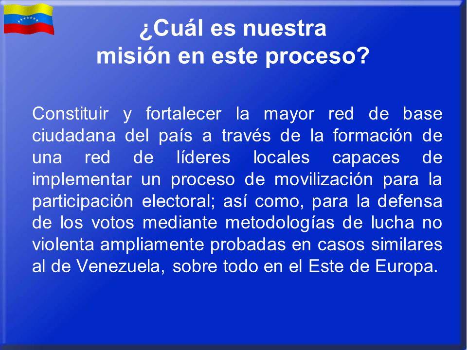 ¿Cuál es nuestra misión en este proceso? Constituir y fortalecer la mayor red de base ciudadana del país a través de la formación de una red de lídere