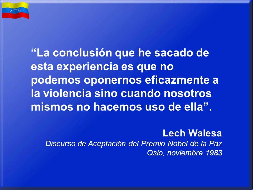 La conclusión que he sacado de esta experiencia es que no podemos oponernos eficazmente a la violencia sino cuando nosotros mismos no hacemos uso de ella.
