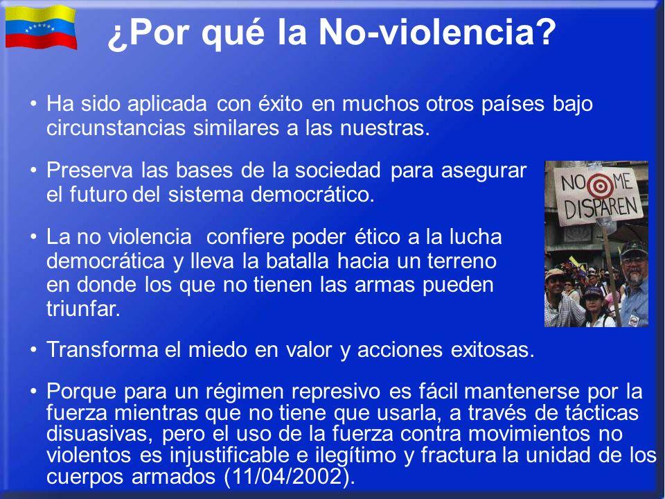 ¿Por qué la No-violencia? Ha sido aplicada con éxito en muchos otros países bajo circunstancias similares a las nuestras. Preserva las bases de la soc