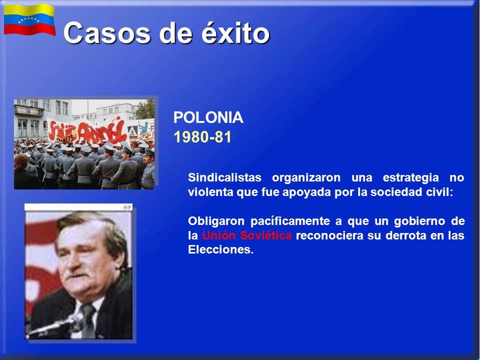 POLONIA 1980-81 Sindicalistas organizaron una estrategia no violenta que fue apoyada por la sociedad civil: Obligaron pacíficamente a que un gobierno de la Unión Soviética reconociera su derrota en las Elecciones.