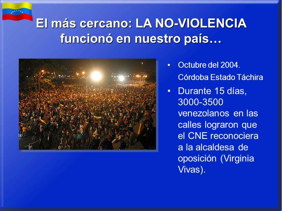 El más cercano: LA NO-VIOLENCIA funcionó en nuestro país… Octubre del 2004. Córdoba Estado Táchira Durante 15 días, 3000-3500 venezolanos en las calle