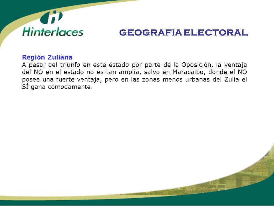 Región Zuliana A pesar del triunfo en este estado por parte de la Oposición, la ventaja del NO en el estado no es tan amplia, salvo en Maracaibo, dond