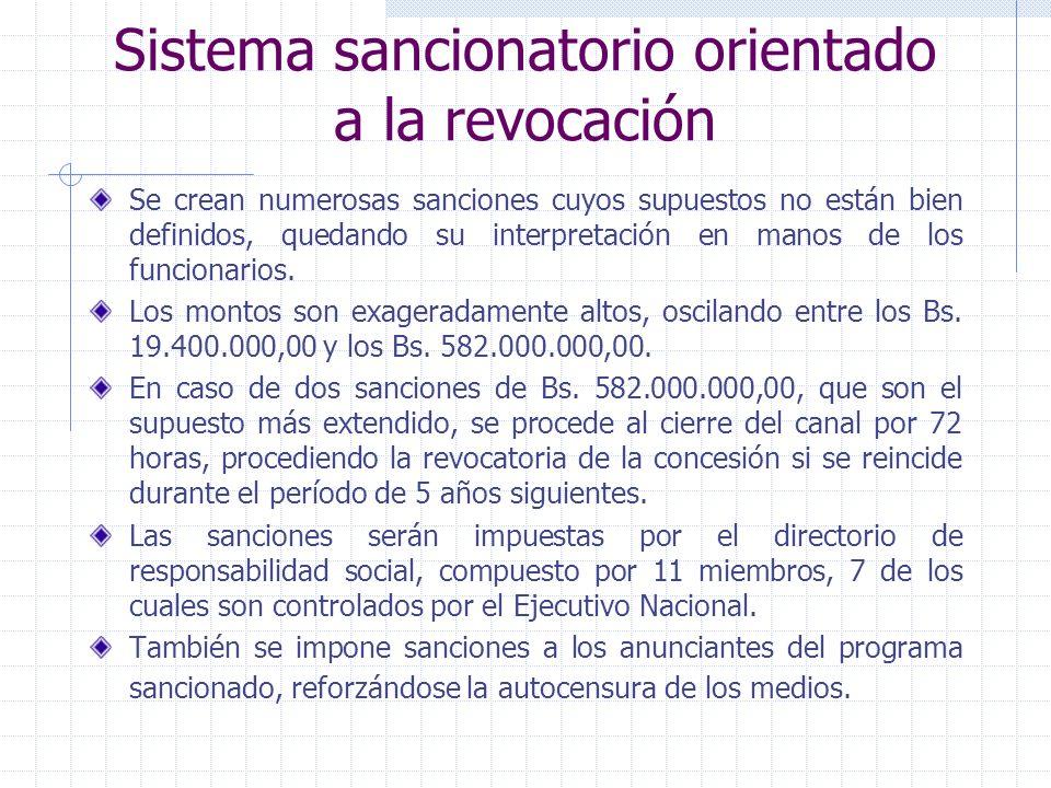 Sistema sancionatorio orientado a la revocación Se crean numerosas sanciones cuyos supuestos no están bien definidos, quedando su interpretación en ma