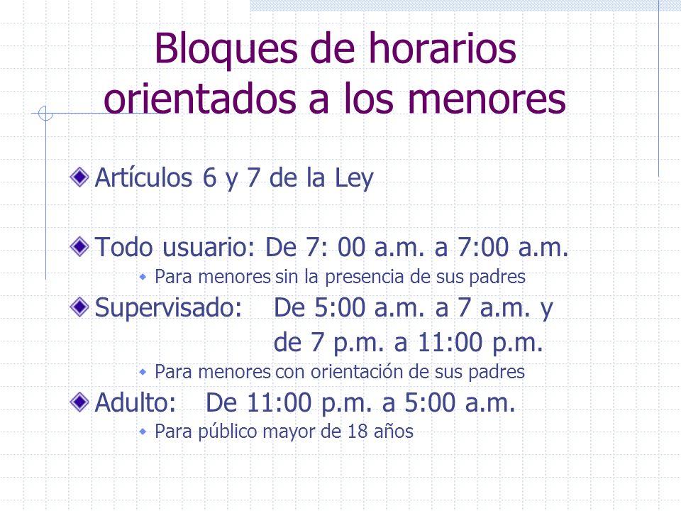 Bloques de horarios orientados a los menores Artículos 6 y 7 de la Ley Todo usuario: De 7: 00 a.m. a 7:00 a.m. Para menores sin la presencia de sus pa