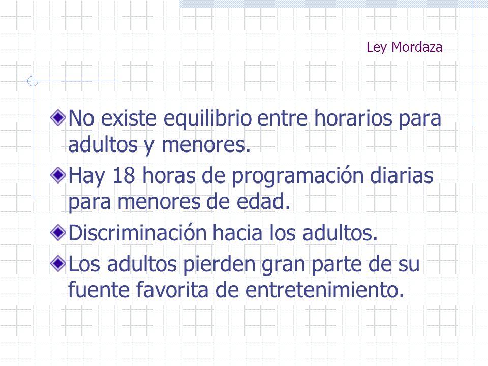 Ley Mordaza No existe equilibrio entre horarios para adultos y menores. Hay 18 horas de programación diarias para menores de edad. Discriminación haci