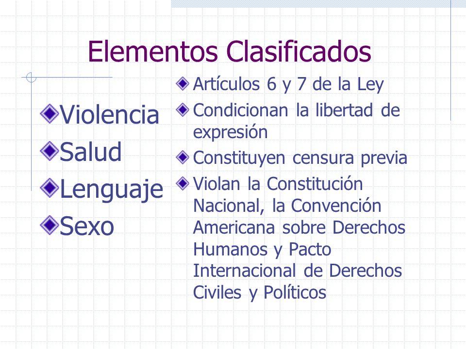Elementos Clasificados Violencia Salud Lenguaje Sexo Artículos 6 y 7 de la Ley Condicionan la libertad de expresión Constituyen censura previa Violan