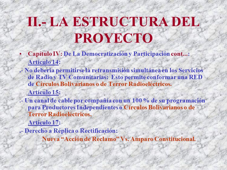 II.- LA ESTRUCTURA DEL PROYECTO Capítulo IV: De La Democratización y Participación cont...: Artículo 13: Círculos Bolivarianos Radioeléctricos.