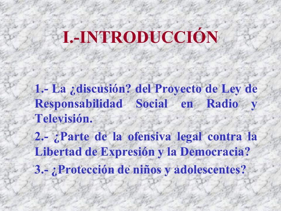I.-INTRODUCCIÓN 1.- La ¿discusión.