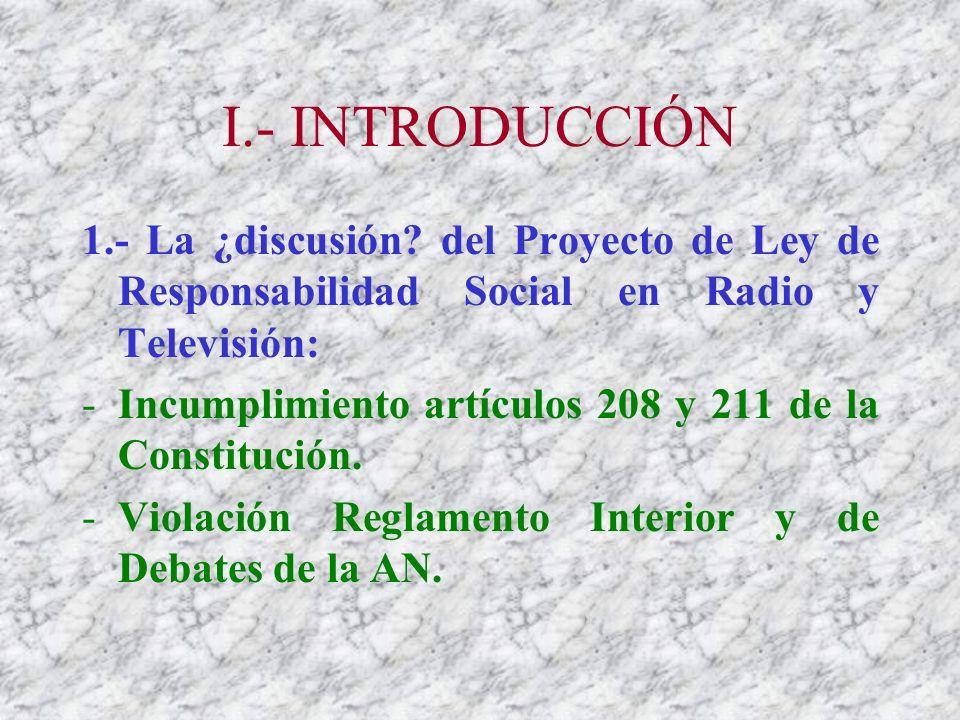 I.- INTRODUCCIÓN 1.- La ¿discusión.
