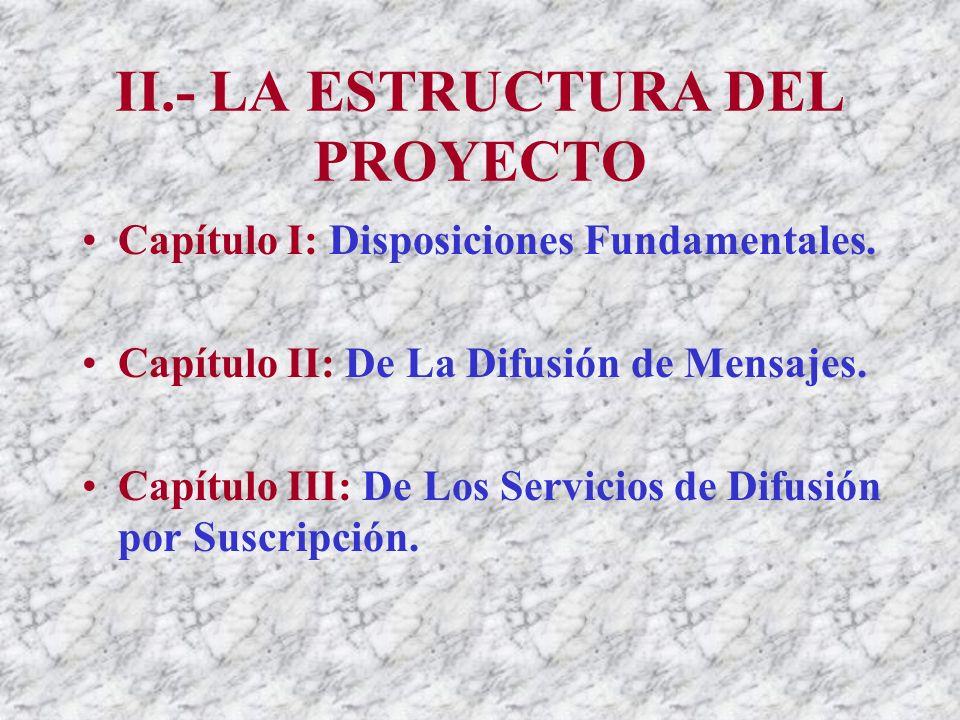 II.- LA ESTRUCTURA DEL PROYECTO Capítulo I: Disposiciones Fundamentales.