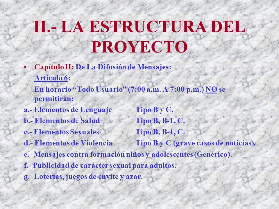 II.- LA ESTRUCTURA DEL PROYECTO Capítulo II: De La Difusión de Mensajes: Artículo 6: En horario Todo Usuario (7:00 a.m.