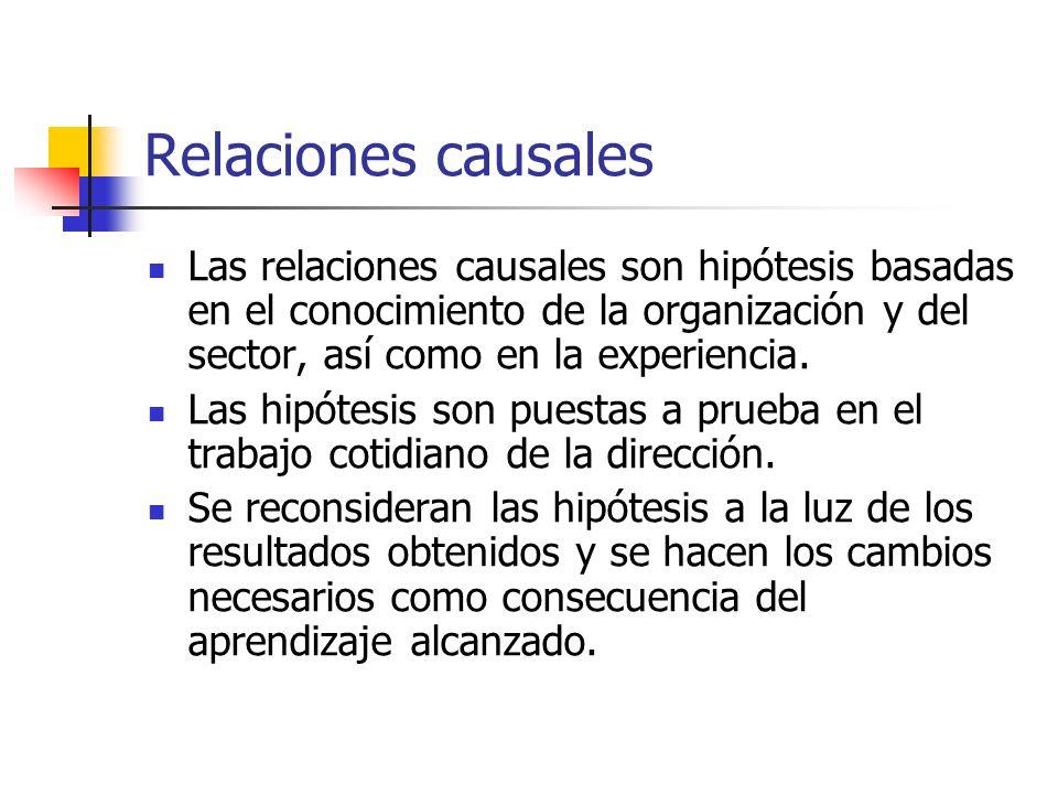 Relaciones causales Las relaciones causales son hipótesis basadas en el conocimiento de la organización y del sector, así como en la experiencia. Las