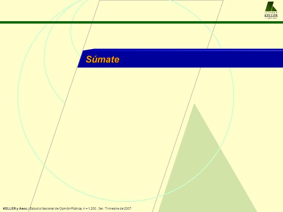 A L F R E D O KELLER y A S O C I A D O S Súmate KELLER y Asoc.: Estudio Nacional de Opinión Pública, n = 1.200, 3er. Trimestre de 2007