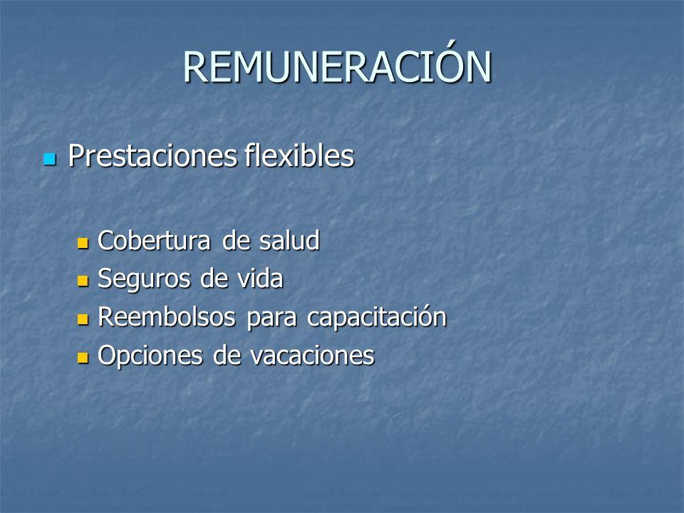 REMUNERACIÓN Prestaciones flexibles Prestaciones flexibles Cobertura de salud Cobertura de salud Seguros de vida Seguros de vida Reembolsos para capac
