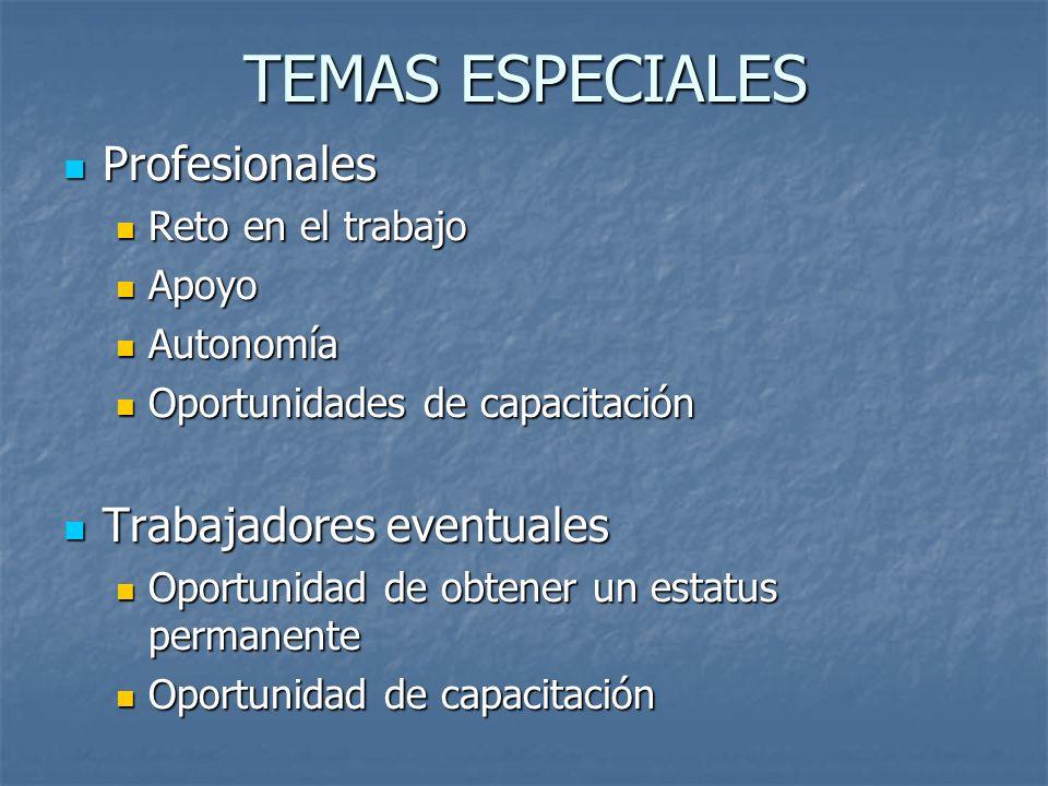 TEMAS ESPECIALES Profesionales Profesionales Reto en el trabajo Reto en el trabajo Apoyo Apoyo Autonomía Autonomía Oportunidades de capacitación Oport
