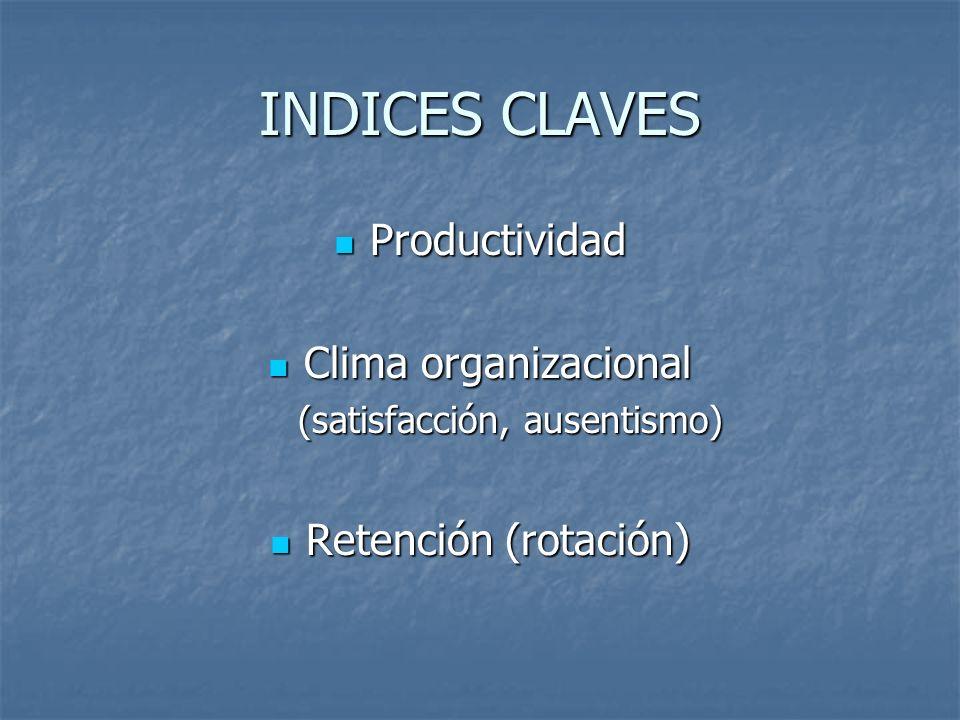 INDICES CLAVES Productividad Productividad Clima organizacional Clima organizacional (satisfacción, ausentismo) (satisfacción, ausentismo) Retención (
