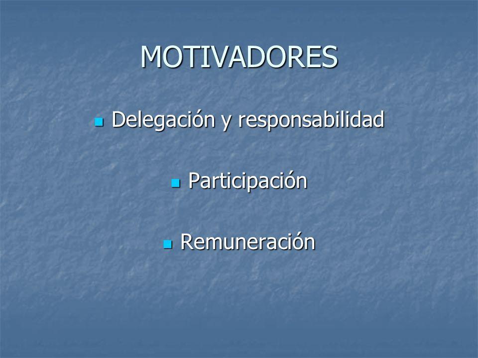 MOTIVADORES Delegación y responsabilidad Delegación y responsabilidad Participación Participación Remuneración Remuneración
