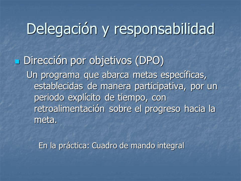 Delegación y responsabilidad Dirección por objetivos (DPO) Dirección por objetivos (DPO) Un programa que abarca metas específicas, establecidas de man