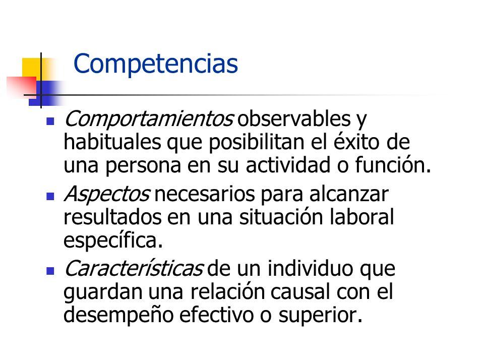 Competencias Comportamientos observables y habituales que posibilitan el éxito de una persona en su actividad o función. Aspectos necesarios para alca