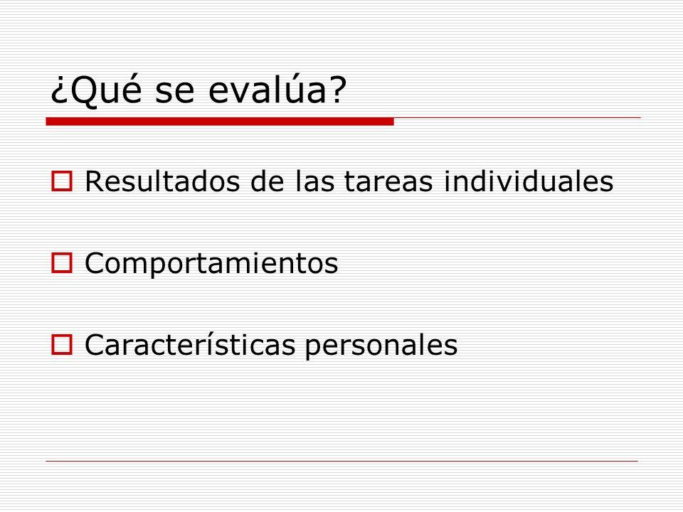¿Qué se evalúa? Resultados de las tareas individuales Comportamientos Características personales