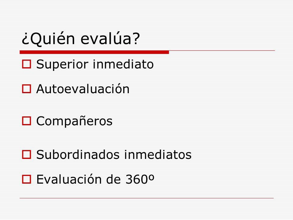 ¿Quién evalúa? Superior inmediato Autoevaluación Compañeros Subordinados inmediatos Evaluación de 360º