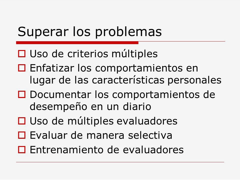 Superar los problemas Uso de criterios múltiples Enfatizar los comportamientos en lugar de las características personales Documentar los comportamient