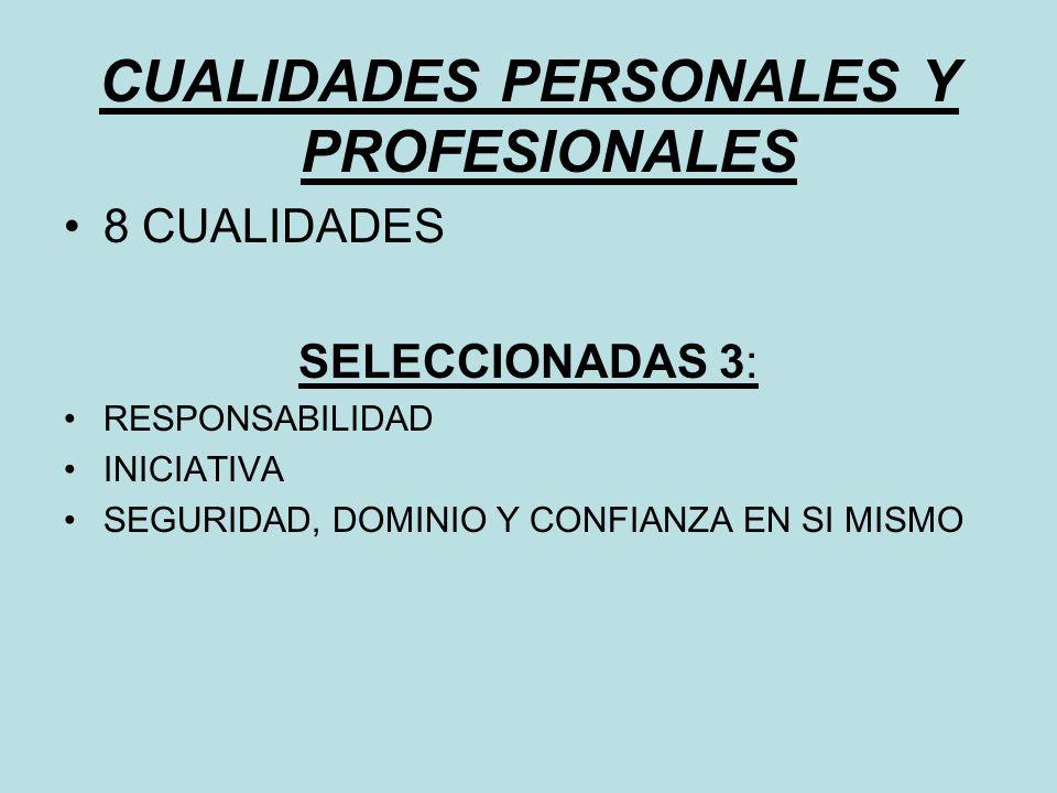 CUALIDADES PERSONALES Y PROFESIONALES 8 CUALIDADES SELECCIONADAS 3: RESPONSABILIDAD INICIATIVA SEGURIDAD, DOMINIO Y CONFIANZA EN SI MISMO