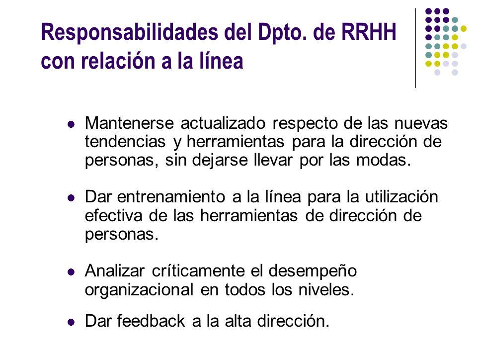 Responsabilidades del Dpto. de RRHH con relación a la línea Mantenerse actualizado respecto de las nuevas tendencias y herramientas para la dirección