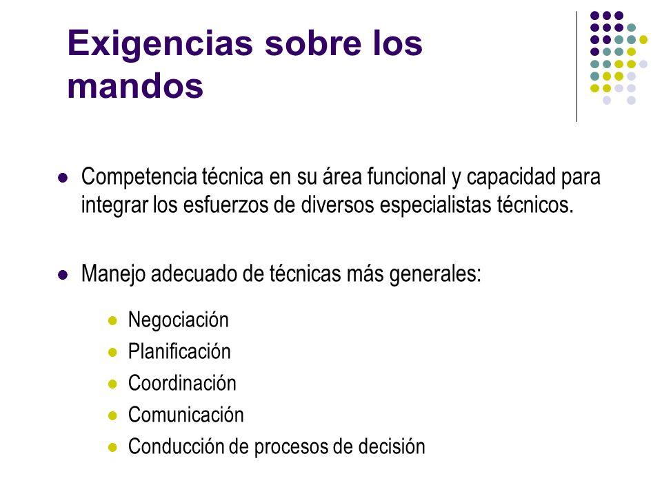 Exigencias sobre los mandos Competencia técnica en su área funcional y capacidad para integrar los esfuerzos de diversos especialistas técnicos. Manej