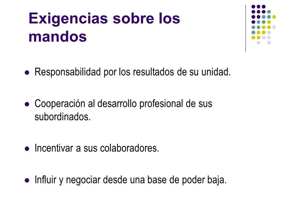 Exigencias sobre los mandos Responsabilidad por los resultados de su unidad. Cooperación al desarrollo profesional de sus subordinados. Incentivar a s