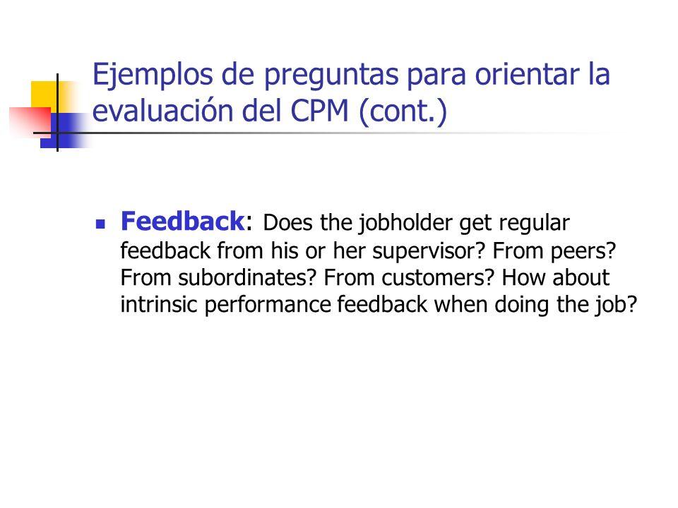 Ejemplos de preguntas para orientar la evaluación del CPM (cont.) Feedback: Does the jobholder get regular feedback from his or her supervisor? From p