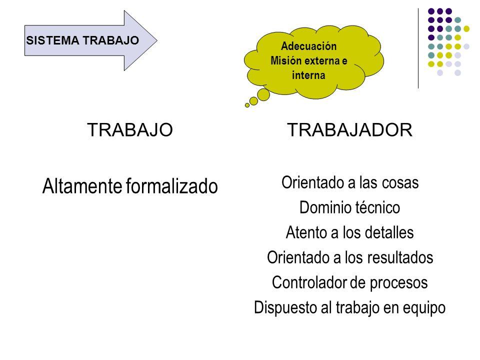 TRABAJO Altamente formalizado TRABAJADOR Orientado a las cosas Dominio técnico Atento a los detalles Orientado a los resultados Controlador de proceso