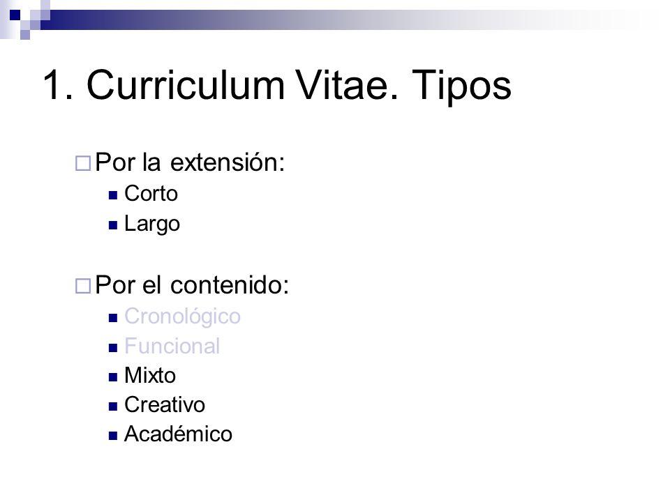 1. Curriculum Vitae. Tipos Por la extensión: Corto Largo Por el contenido: Cronológico Funcional Mixto Creativo Académico