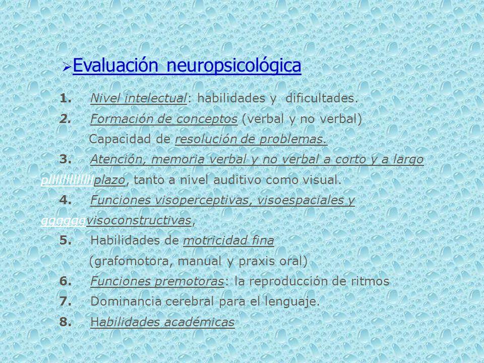 Evaluación neuropsicológica 1. Nivel intelectual: habilidades y dificultades. 2. Formación de conceptos (verbal y no verbal) Capacidad de resolución d