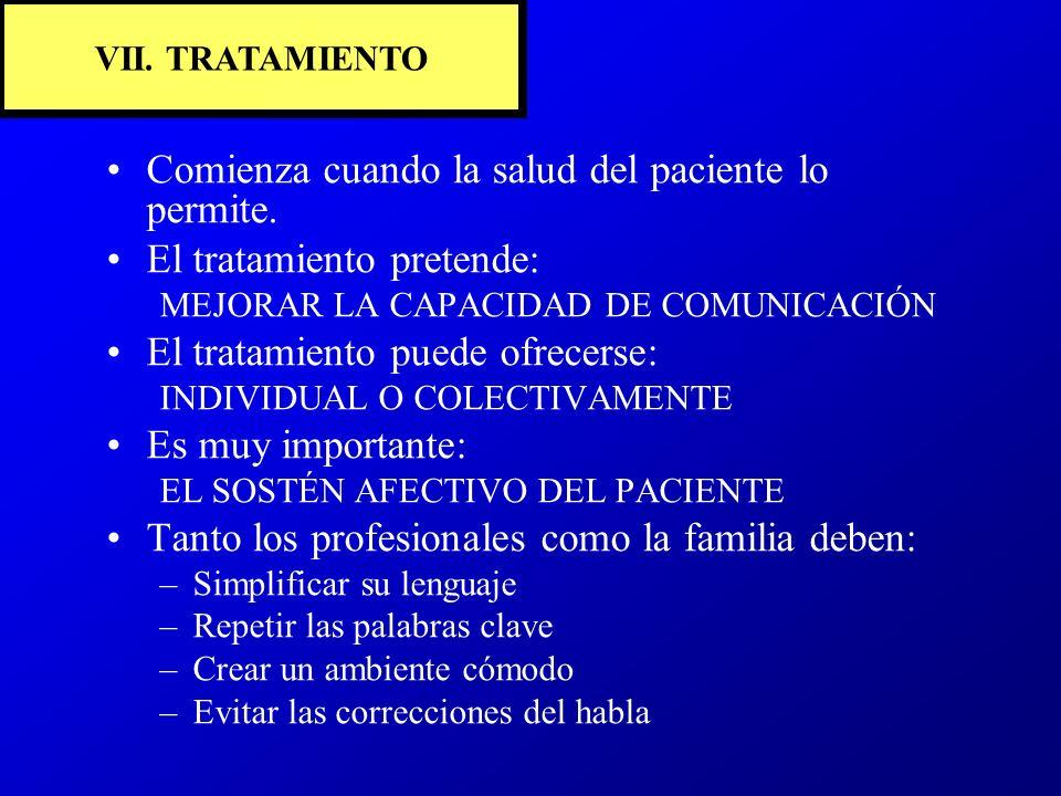 VII. TRATAMIENTO Comienza cuando la salud del paciente lo permite. El tratamiento pretende: MEJORAR LA CAPACIDAD DE COMUNICACIÓN El tratamiento puede