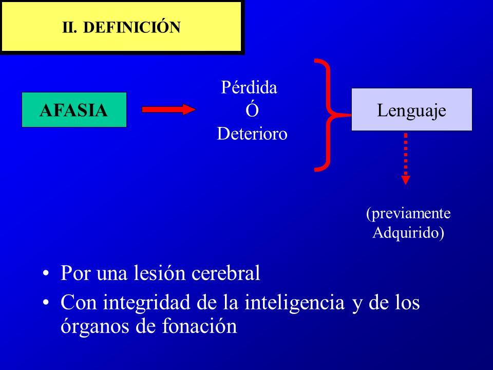 II. DEFINICIÓN AFASIA Pérdida Ó Deterioro Lenguaje (previamente Adquirido) Por una lesión cerebral Con integridad de la inteligencia y de los órganos