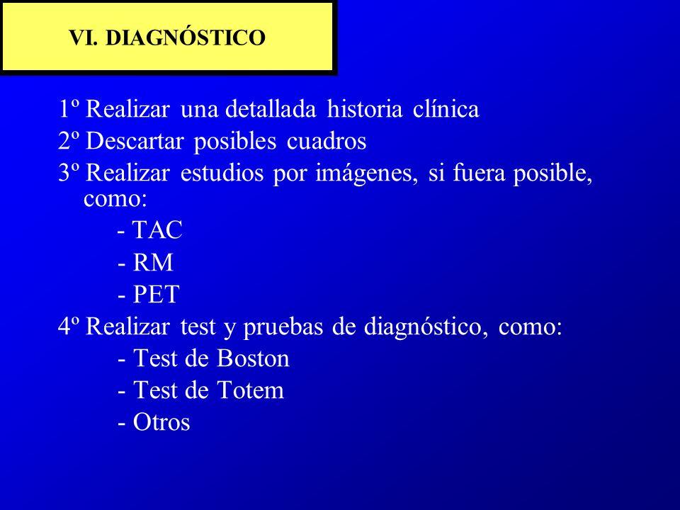 VI. DIAGNÓSTICO 1º Realizar una detallada historia clínica 2º Descartar posibles cuadros 3º Realizar estudios por imágenes, si fuera posible, como: -