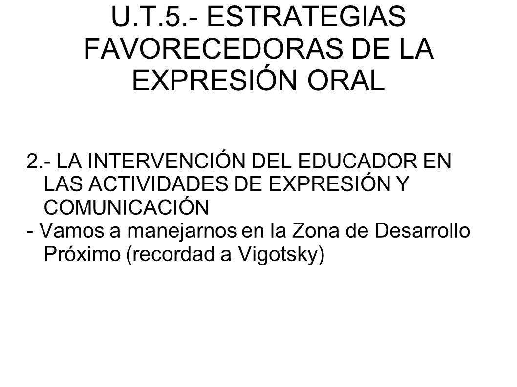 U.T.5.- ESTRATEGIAS FAVORECEDORAS DE LA EXPRESIÓN ORAL 2.- LA INTERVENCIÓN DEL EDUCADOR EN LAS ACTIVIDADES DE EXPRESIÓN Y COMUNICACIÓN - Vamos a manej