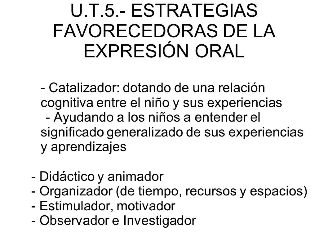 U.T.5.- ESTRATEGIAS FAVORECEDORAS DE LA EXPRESIÓN ORAL - Catalizador: dotando de una relación cognitiva entre el niño y sus experiencias - Ayudando a