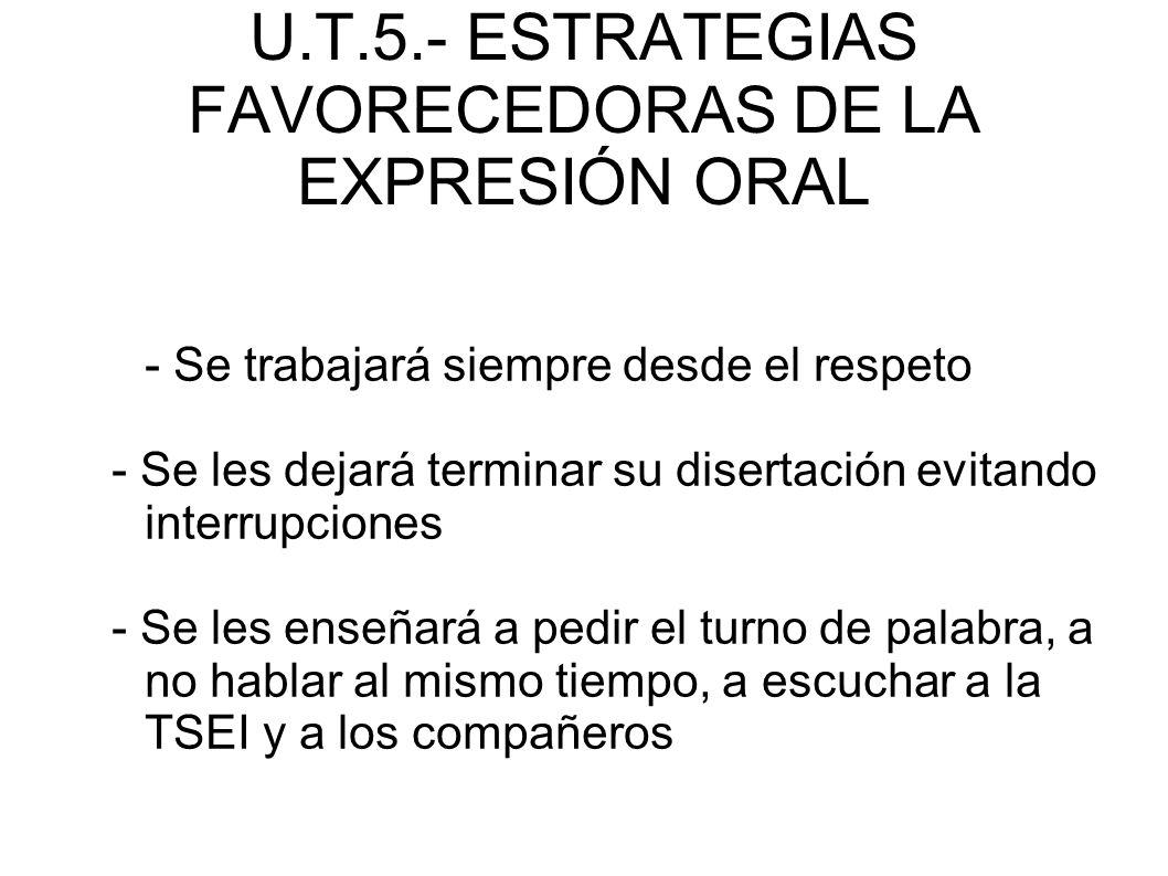 U.T.5.- ESTRATEGIAS FAVORECEDORAS DE LA EXPRESIÓN ORAL - Se trabajará siempre desde el respeto - Se les dejará terminar su disertación evitando interr