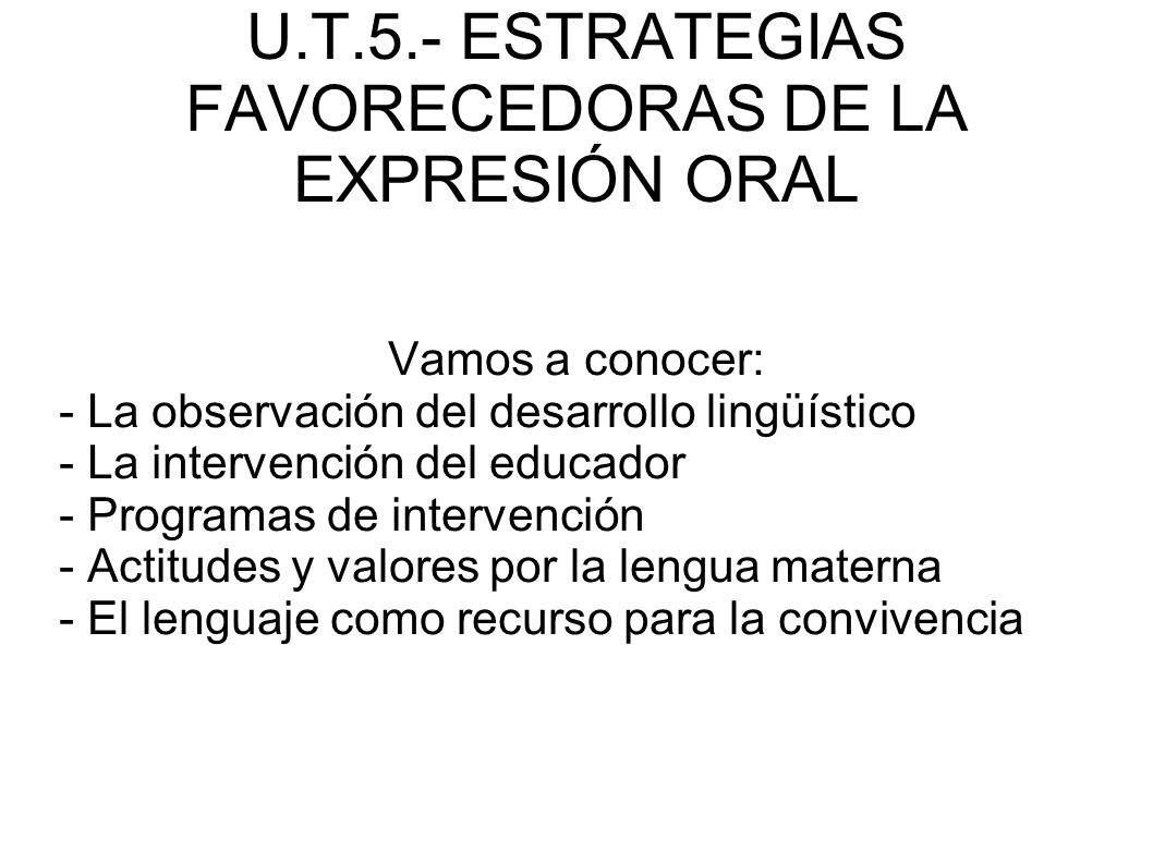 U.T.5.- ESTRATEGIAS FAVORECEDORAS DE LA EXPRESIÓN ORAL Vamos a conocer: - La observación del desarrollo lingüístico - La intervención del educador - P