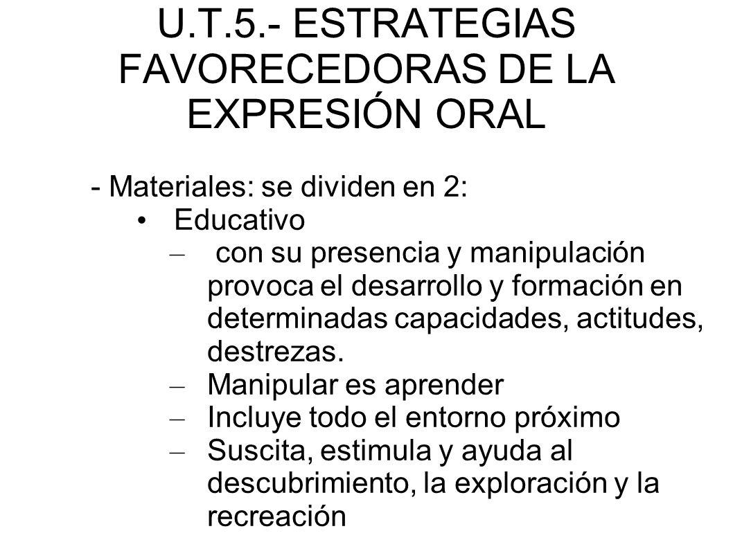 U.T.5.- ESTRATEGIAS FAVORECEDORAS DE LA EXPRESIÓN ORAL - Materiales: se dividen en 2: Educativo – con su presencia y manipulación provoca el desarroll