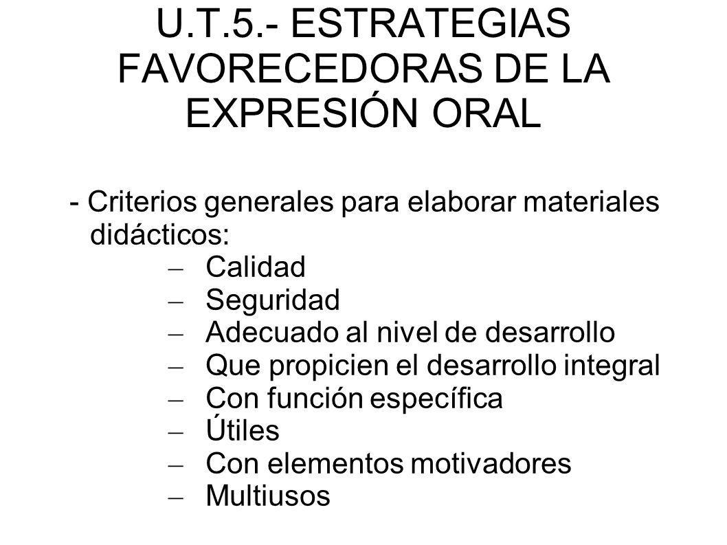 U.T.5.- ESTRATEGIAS FAVORECEDORAS DE LA EXPRESIÓN ORAL - Criterios generales para elaborar materiales didácticos: – Calidad – Seguridad – Adecuado al