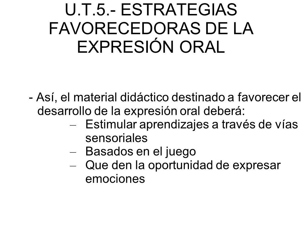 U.T.5.- ESTRATEGIAS FAVORECEDORAS DE LA EXPRESIÓN ORAL - Así, el material didáctico destinado a favorecer el desarrollo de la expresión oral deberá: –