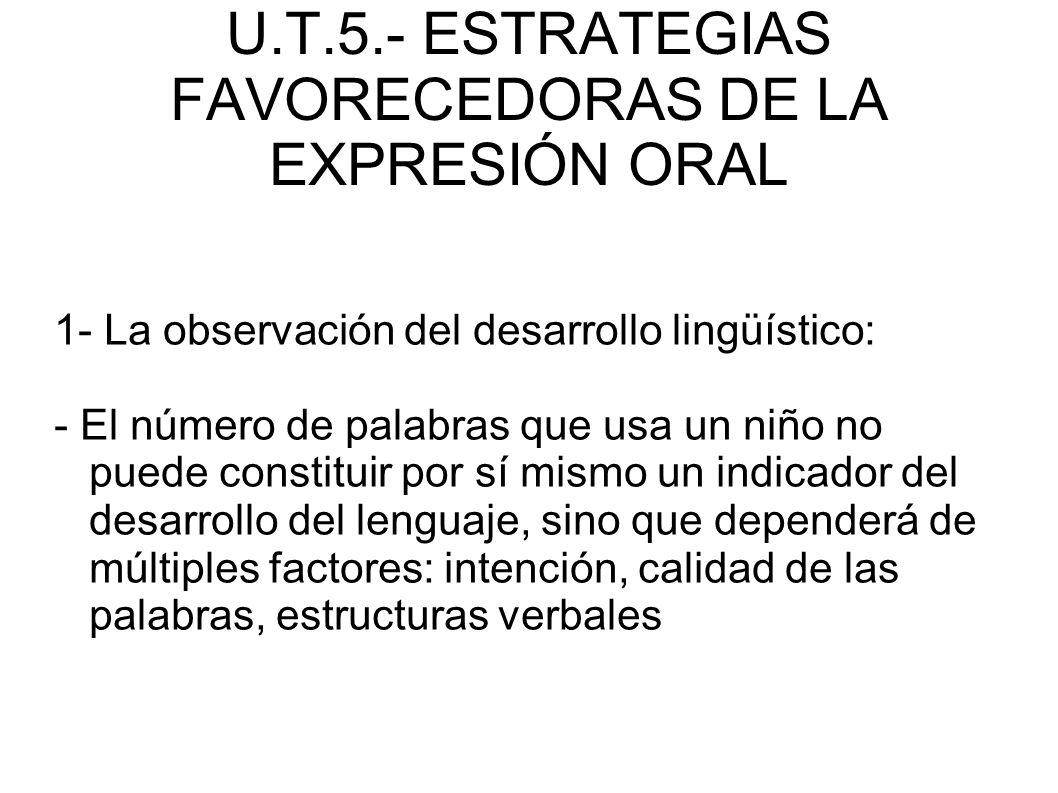 U.T.5.- ESTRATEGIAS FAVORECEDORAS DE LA EXPRESIÓN ORAL 1- La observación del desarrollo lingüístico: - El número de palabras que usa un niño no puede