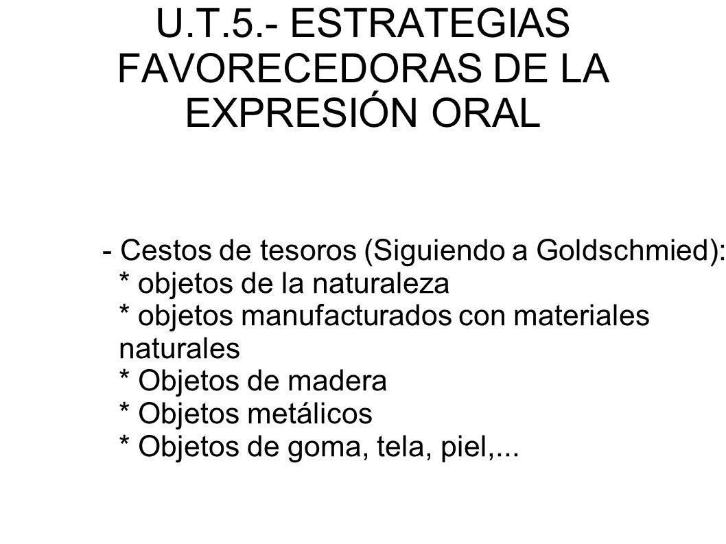 U.T.5.- ESTRATEGIAS FAVORECEDORAS DE LA EXPRESIÓN ORAL - Cestos de tesoros (Siguiendo a Goldschmied): * objetos de la naturaleza * objetos manufactura