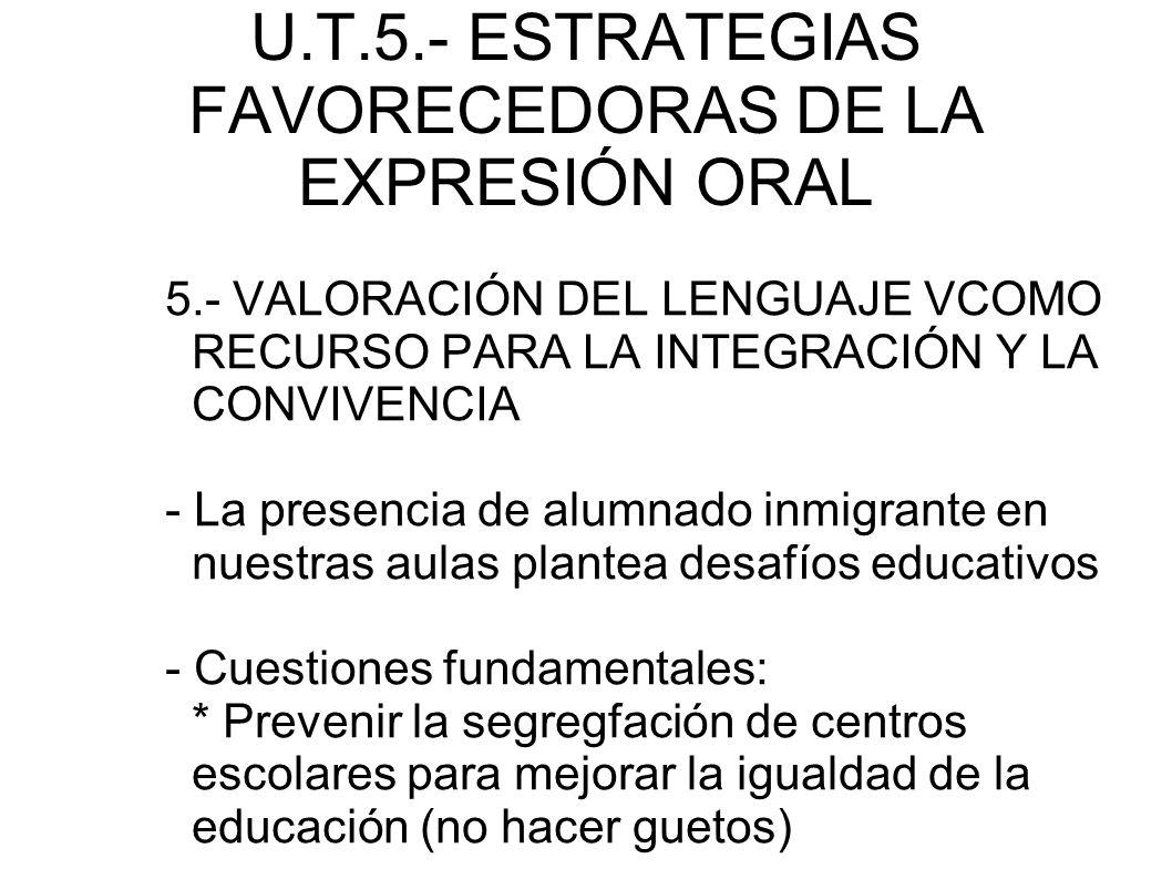 U.T.5.- ESTRATEGIAS FAVORECEDORAS DE LA EXPRESIÓN ORAL 5.- VALORACIÓN DEL LENGUAJE VCOMO RECURSO PARA LA INTEGRACIÓN Y LA CONVIVENCIA - La presencia d