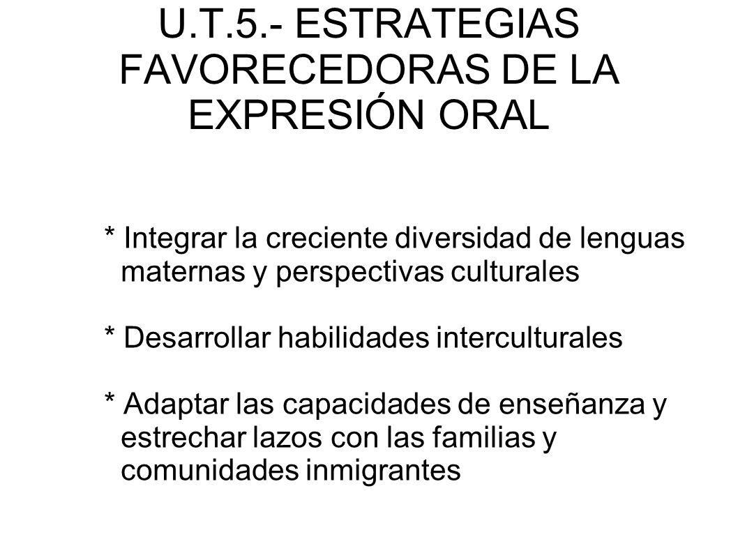 U.T.5.- ESTRATEGIAS FAVORECEDORAS DE LA EXPRESIÓN ORAL * Integrar la creciente diversidad de lenguas maternas y perspectivas culturales * Desarrollar