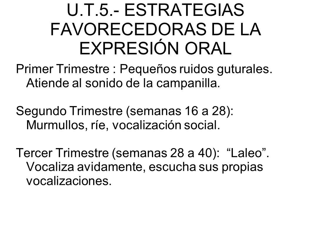 U.T.5.- ESTRATEGIAS FAVORECEDORAS DE LA EXPRESIÓN ORAL 3.- PRINCIPALES ESTRATEGIAS PARA EL DESARROLLO DE LA EXPRESIÓN ORAL - Durante los primeros meses aprobaremos sus manifestaciones con sonrisas y gestos positivo - Eso les motivará a emitir vocalizaciones y a imitar sonidos - Utilizaremos el juego como actividad favorecedora del lenguaje
